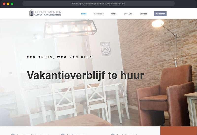 website voor appartementen Cuinen & Vangenechten