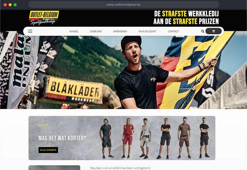 website voor Outlet Belgium