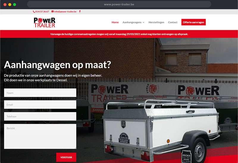 website voor Power Trailer